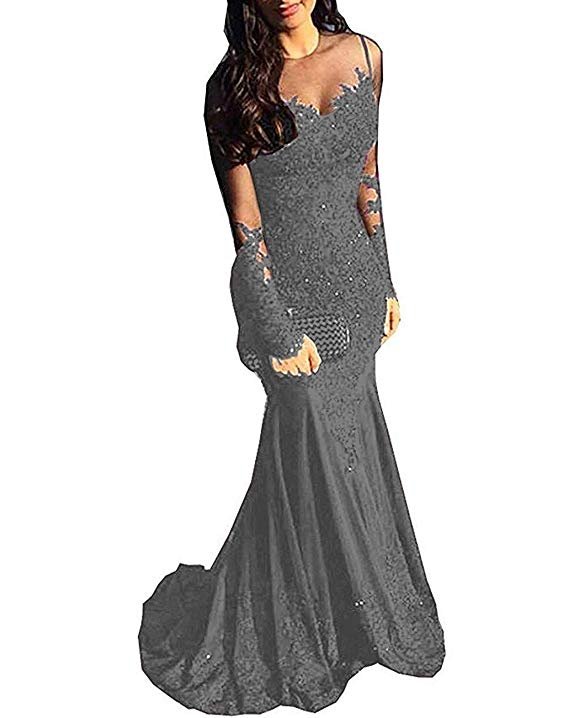 Abiti Da Cerimonia Sera.Long Sleeves Beaded Satin Mermaid Prom Dress Lace Evening Formal