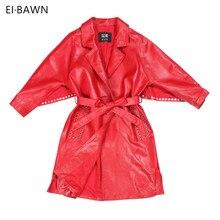 Women 2018 Leather Jacket Sheepskin Belt Red Black Vintage Plus Size Rivet Women Office Lady Autumn Winter Genuine Leather Coats