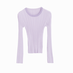 Image 5 - INMAN Spring Autumn Round Collar Stripped Fitness Women Long Sleeve Knit Sweater Tops