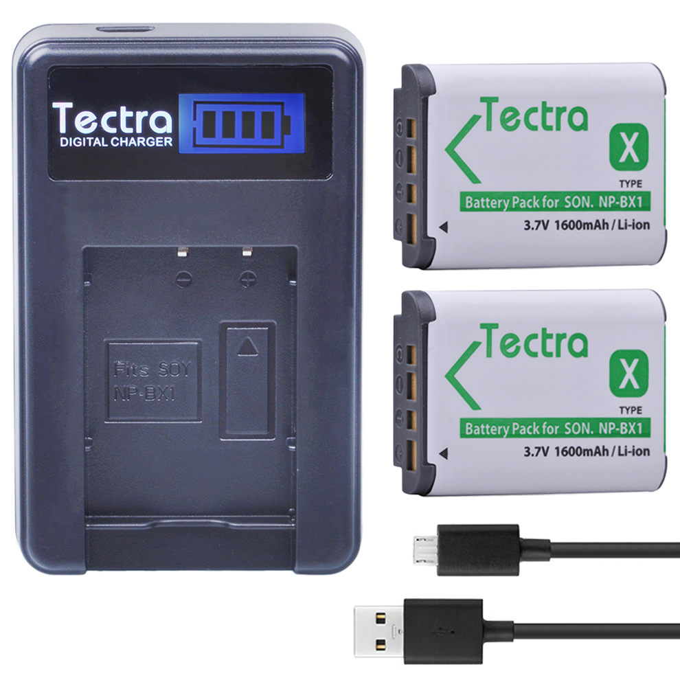 Tectra 2PCS NP-BX1 NP BX1 NPBX1 Li-ion Camera Battery + LCD USB Charger for Sony DSC-RX100 RX1 HDR-AS15 AS10 HX300 WX300 new bateria 2x1600mah np bx1 battery npbx1 np bx1 car charger kit for sony camera hdr as100v as30v hx50 dsc rx100 hx400 wx350
