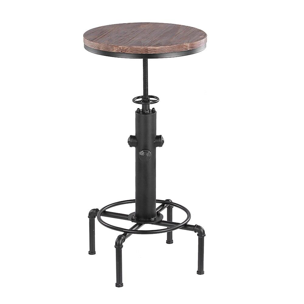 Tabouret de Bar, chaise de Table ronde en bois de pinède, à hauteur  réglable, à comptoir pivotant, tuyau de Bistro, Style de Table à manger