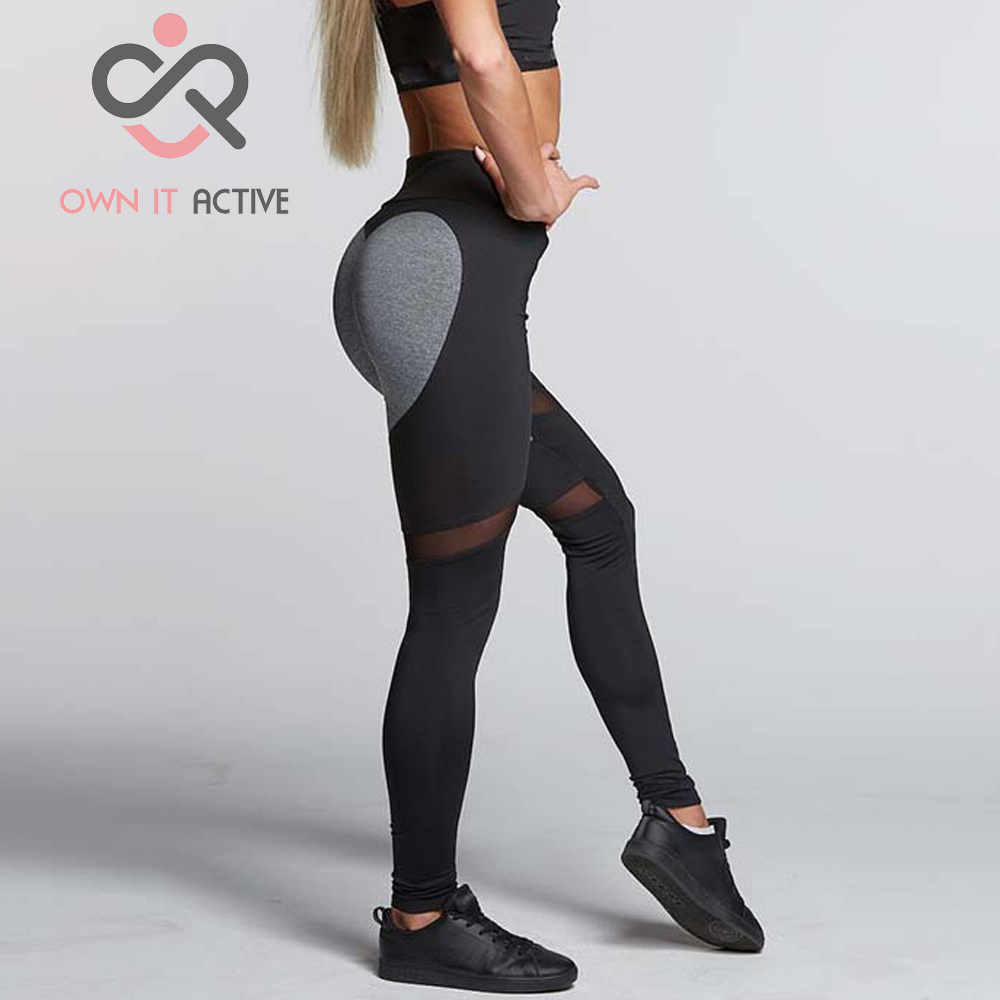 Sexy Women Sport Leggings Elastic Patchwork Mesh Pants for Running Gym Fitness Dry Quick Workout Capris pantalones mujer P263 sexy sports bra and leggings