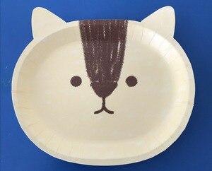 Image 2 - 8 יח\חבילה חמוד חתול נייר צלחות ספקי צד מסיבת יום הולדת קישוטי ילדים תינוק מקלחת קריקטורה חמה נייר צלחת ספק