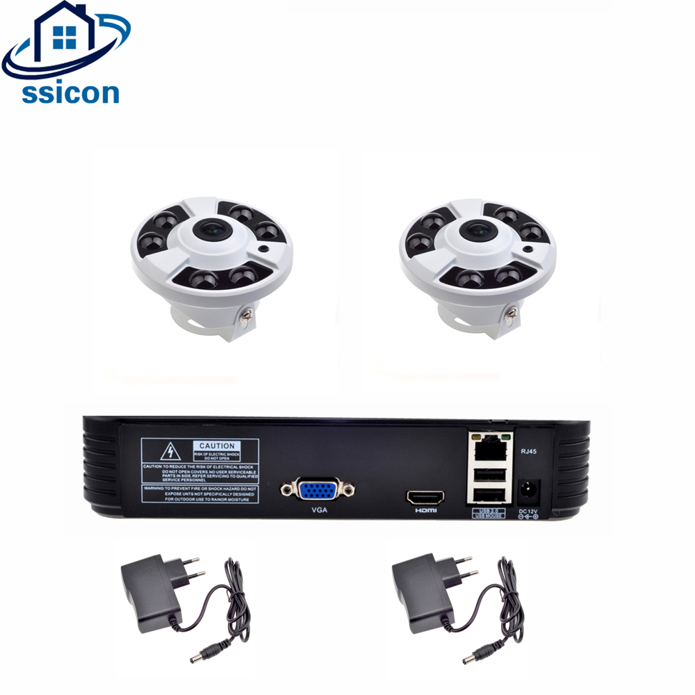 SSICON H.264 4CH 1080P Fisheye Camera NVR kit 2Pcs 2.0MP 360 Degree Fisheye IP Camera NVR Surveillance CCTV System ONVIF заколдованный принц 2018 12 22t18 00