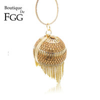 Boutique De FGG Round Circular Tassel Crystal Women Gold Evening Bags Metal Wristlets Handbag Wedding Bridal Diamond Purse