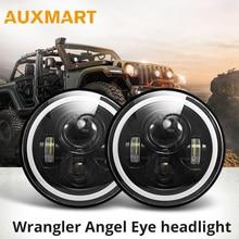 Auxmart светодио дный 2 шт. 7 дюймов 60 Вт фара для Jeep Wrangler JK TJ LJ Land Rover Defender светодио дный дальнего света светодио дный авто