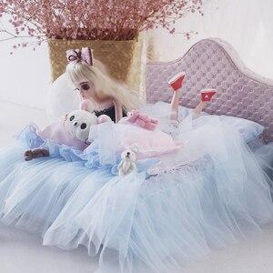 1/6 кукольный домик, мебель, игрушка для кукол, розовая кровать, набор моделей, 30 см, кукла bjd, миниатюрная имитационная кровать, ролевые игры, и...