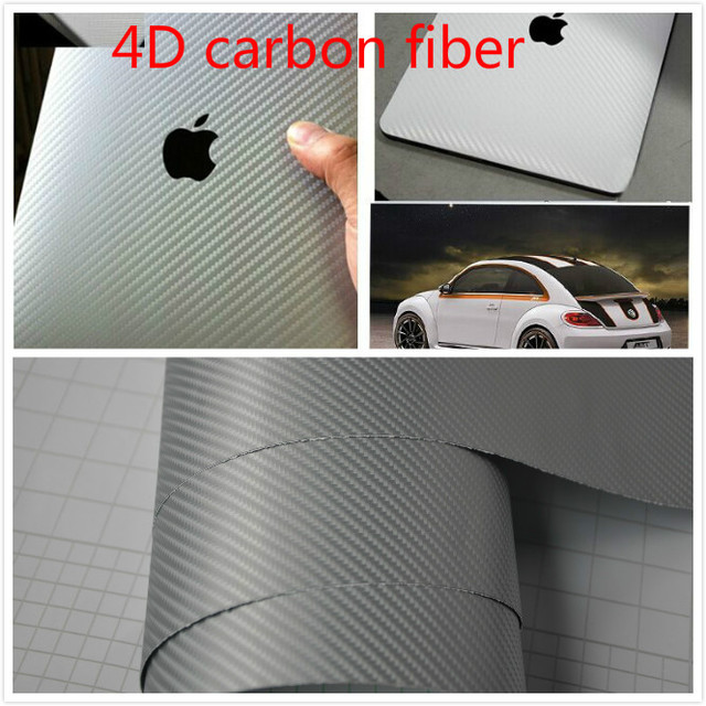 40cm152cm 4d carbon fiber vinyl wrap silver air release easy cleaning sticker decal waterproof