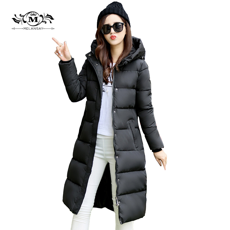 2017 Hooded Down Womens Coat Warm Cotton Padded Parka Slim Fitted Winter Jackets And Coats Female Manteau Femme Down Parka Coat womens winter jackets slim fashion womens parka medium long thicker coat jackets female lapel down padded cotton jacket c1699