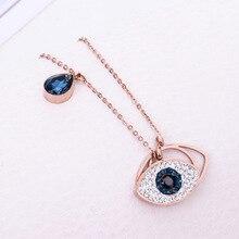 9ac543177f3e Zircon azul diablo ojo lágrima oro rosa 316L Acero inoxidable collar y  colgante Maxi Collar para las mujeres cadena marca collar.