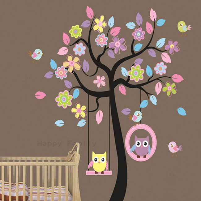 Aliexpress com   Buy Free Shipping DIY Catoon Owl Bird Tree Swing Wall  Stickers Kids Room Bedroom Decoration Wallpaper Home Art Decor Removable  A0056 from. Aliexpress com   Buy Free Shipping DIY Catoon Owl Bird Tree Swing
