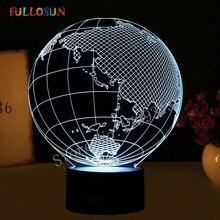 Креативный 3D иллюзионный светодиодный светильник в форме глобуса с 7 цветами, потрясающий Ночной светильник для украшения дома