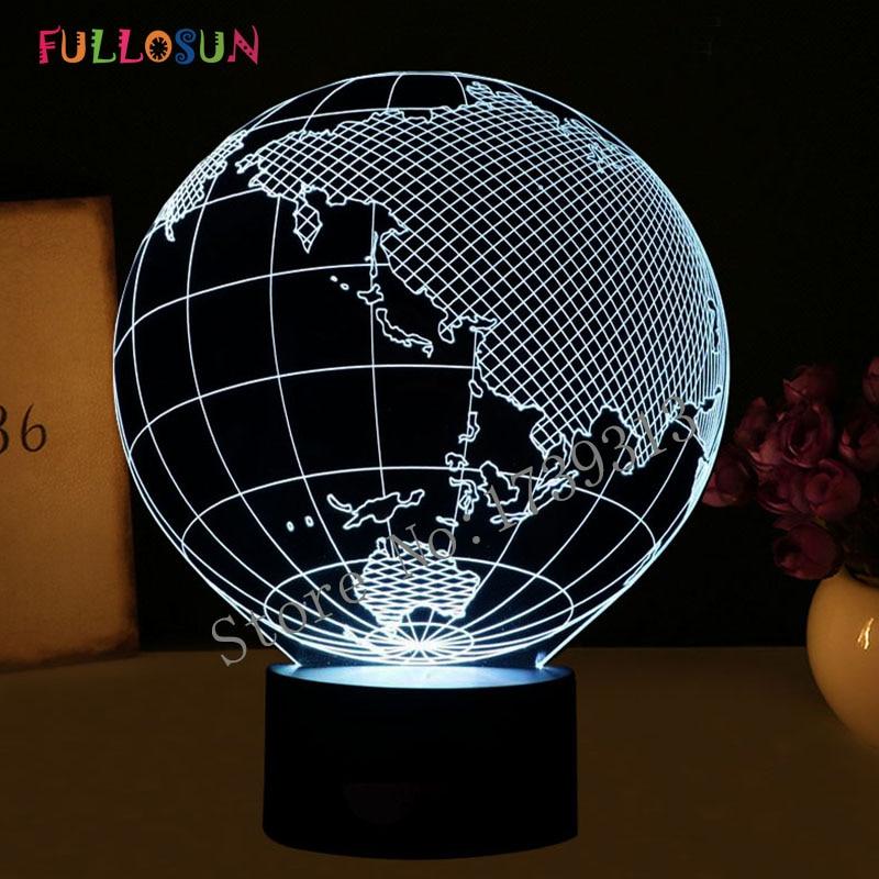 Creative 3D Illusion Globe- ի ձևի LED սեղանի լամպ `7 գունային թեթև զարմանալի գիշերային լույսով տան զարդերի համար