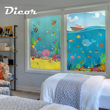 Customized Stained Static Cling Window Film Frosted Opaque Privacy Home Decor Glass Sticker Digital print BLT1203 Sea Song
