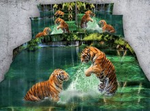 3D Aqua green Tiger Bedding sets Animal print quilt duvet cover bedspreads bed sheet linens California King size Queen twin 4PCS
