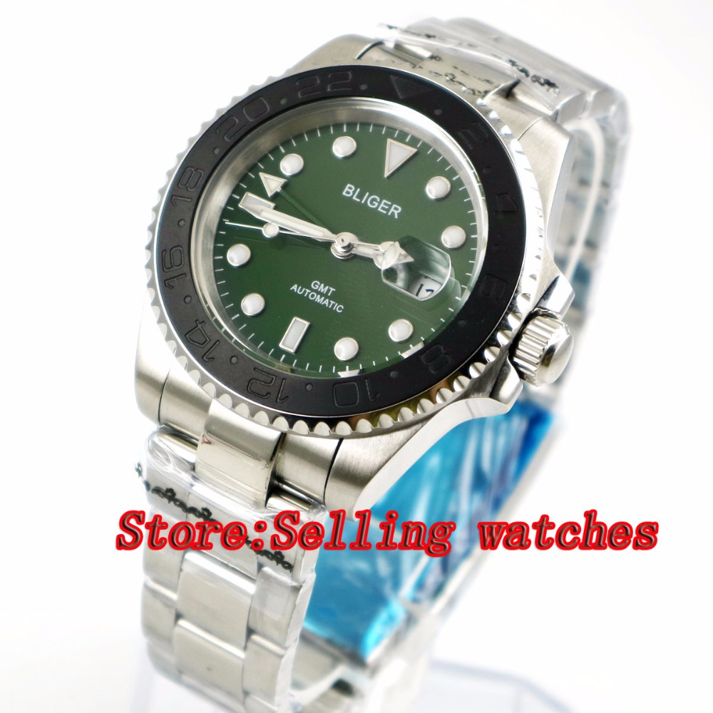 40mm Bliger green Dial black ceramic bezel green GMT Luminous Hands Sapphire Glass Automatic Movement Mens Mechanical watches40mm Bliger green Dial black ceramic bezel green GMT Luminous Hands Sapphire Glass Automatic Movement Mens Mechanical watches