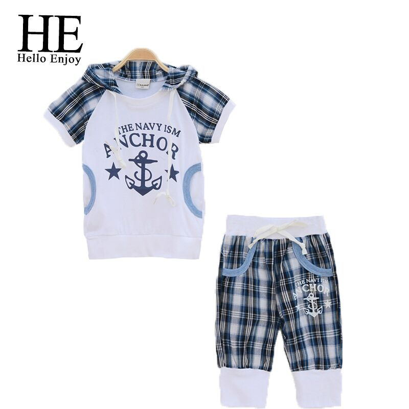 HE Hello Enjoy boy clothing set summer boy clothes kids clothing hooded short sleeve T-shirt+plaid shorts 2pcs suit for children