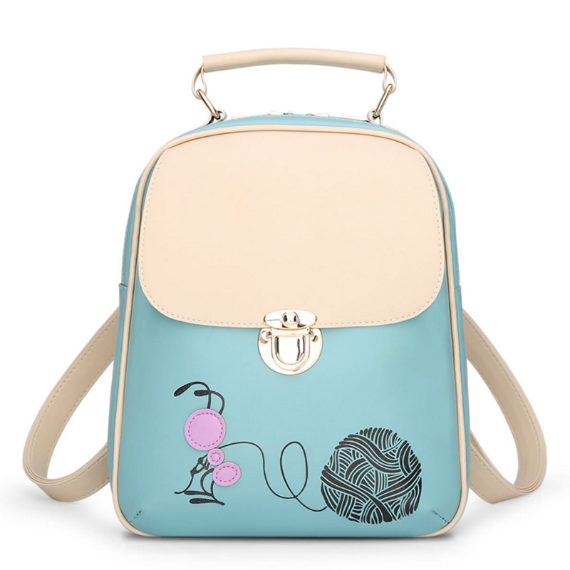 2018 New Sale Cartoon Printing Backpack Woman Fashion PU Leather Backpacks Skull Backpack College Style School Student Cute Bags forudesigsn printing backpack boys 3d animal schnauzer backpacks school bags for girls college bags student backpack mochila