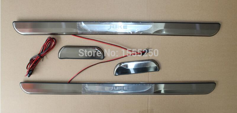 For Nissan JUKE High quality With LED light Stainless Steel Door Sill Scuff Plate Threshold,car accessories for toyota fj cruiser led door sill stainless steel scuff plate threshold sticker accessories 2 pcs