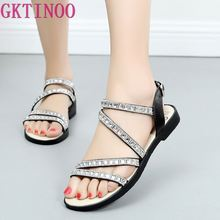GKTINOO Summer Sandals Women Shoes Genuine Leather Flat Sandals 2019 Rhinestone Buckle Casual Shoes Lady Big Size 35-43 gktinoo woman genuine leather flat sandals summer shoes casual comfortable flower sandals women sandals big size