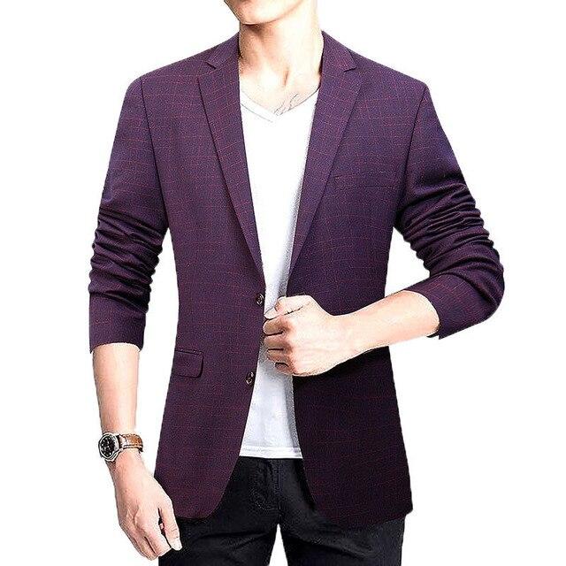 1 pcs Homens Plus Size blazer jaquetas 2017 Primavera Cotton blended Slim fit plaid Red Pequenas blazers casacos ternos Homens Magros jaquetas meninos