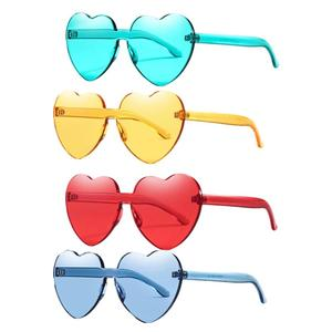 12 pcs Love Sunglass Transparent Colored Heart Shape Rimless Plastic Glasses Party Eyewear Cosplay Props(China)