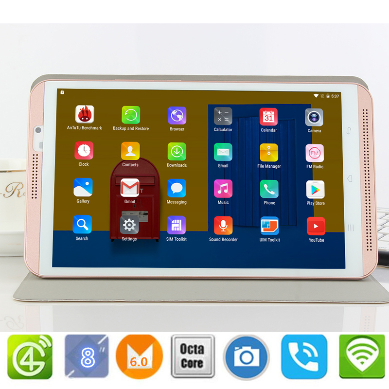 Free Gift Case 8 inch tablet pc Android 6.0 octa core  Dual SIM Bluetooth GPS 800x1280 IPS Smart Google tablets pcs M1S 4G LTE