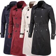 Мужской плащ, британский стиль, классический Тренч, куртка, двубортный, длинный, тонкий, верхняя одежда, регулируемый ремень, кожаный рукав, ремень