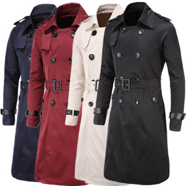 Uomini Trench e Impermeabili cappotto di Stile Britannico Classico Trench e Impermeabili Cappotto Giacca A Doppio Petto Sottile Lungo Outwear Regolabile Cinghia di Cuoio della Cinghia del Manicotto