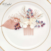 PEORCHID 2019 Rose Gold Bridal Hair Comb Pearl Hair Vine Flower Headpiece Wedding Bride Headwear Women Party Jewelry Accessories