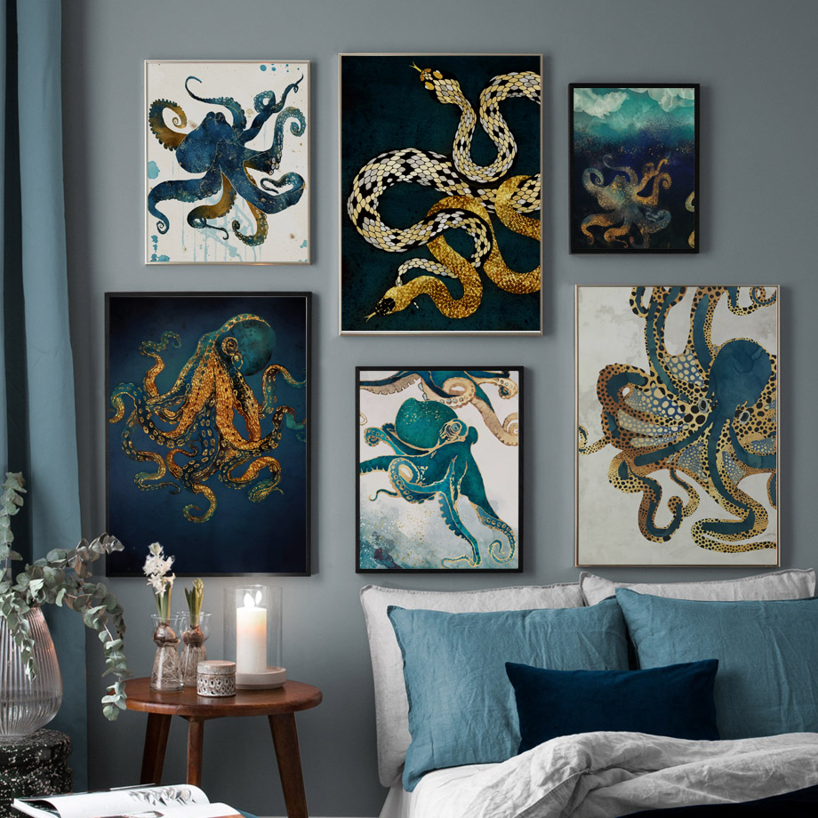 Serpent pieuvre méduse calmar nordique affiches et impressions mur Art toile peinture mur photos pour salon Art imprime décor