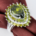Promotion Jewelry Lucky Shine Fire Drop Full Peridot Silver Plated Wedding Rings Russia USA Holiday Gift  Australia Rings