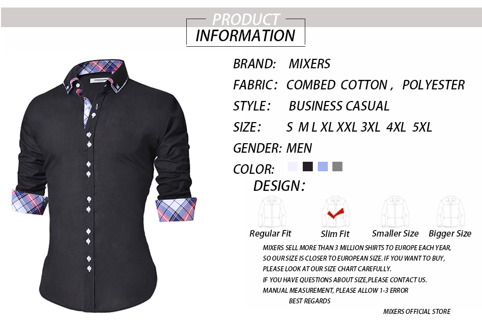 18 Men's Casual Shirt Slim Fit Men's Casual Button Down Shirt Long Sleeve Formal Dress Shirts Men Male Clothing Camisa 5