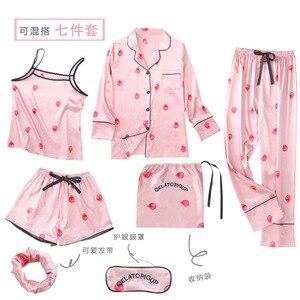 Image 2 - Conjunto de Pijama de 7 piezas para mujer, ropa de dormir Sexy de imitación de seda, Pijama de rayas, para el hogar, Primavera