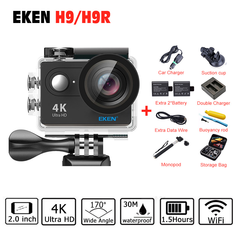 2017 Original EKEN H9R H9 Sports Action Camera 4K Ultra HD 2.4G Remote WiFi 170 Degree Wide Angle Go Waterproof pro Camera Sjcam