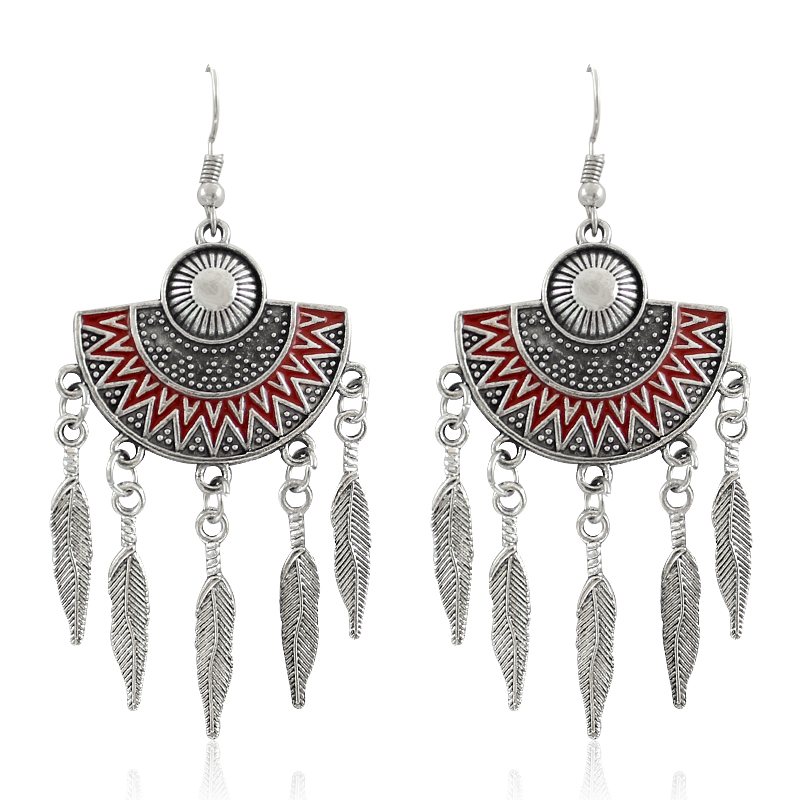 Geometric Sector With Tassels Shape Earring Ethnic Style
