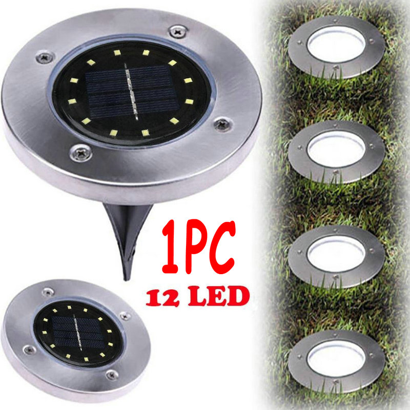 New 1PC 12LED Bulbs Solar Power Buried Lamp Ground Path Garden Landscape Yard Driveway Lawn Pond Night Light Waterproof Outdoor