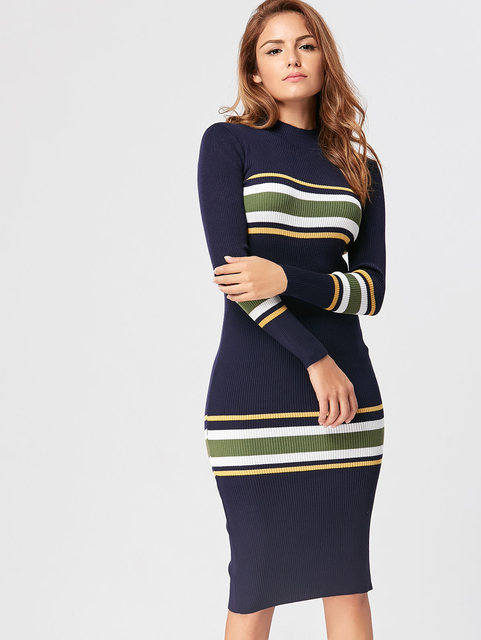631ed231bd5 Gamiss Women Autumn Winter Sexy Dress Long Sleeve Striped Knit Dress Party  Skinny Warm Sweaters Dresses Casual Women Clothing