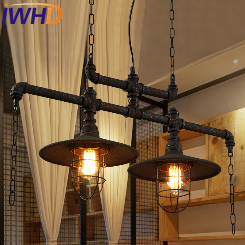 IWHD Industrial Pendant Light Fixtures Loft Style Vintage Lamp Hanging Lights Retro Water Pipre Lamparas Home Lighting Hanglamp iwhd loft retro led pendant lights industrial vintage iron hanging lamp stair bar light fixture home lighting hanglamp lustre