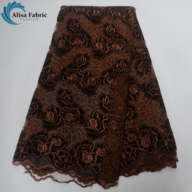 Brown african lace fabric New arrival velvet lace with embroidery 5 yards/pcs France lace for sewing evening dress