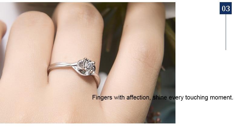 Jewellwang 08 Carat Efekt Diamentowe Pierścienie 18 K Złote