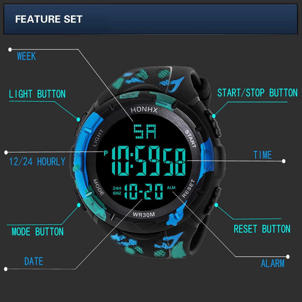 Relógio Digital Homens Mulheres Exército Relogio Esporte Mens LED Digital Data de Alarme À Prova D' Água Esportes Relógio de Quartzo 2019