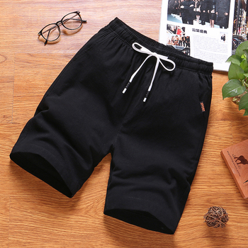 Mens Summer Cotton Solid Casual Shorts Elastic Waist Top Quality 2