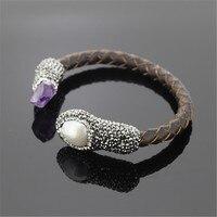 Natuurlijke ruwe Parel amethisten Crystal bead pave rhinestone Charm real Lederen open verstelbare bangle manchet Armband voor vrouwen