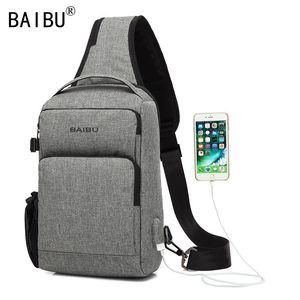 Image 2 - Мужская сумка антивор через плечо от BAIBU с функцией подзарядки через USB, массажная нагрудная сумка для поездок, сумка мессенджер, водонепроницаемая сумка через плечо для мобильного телефона, iPad