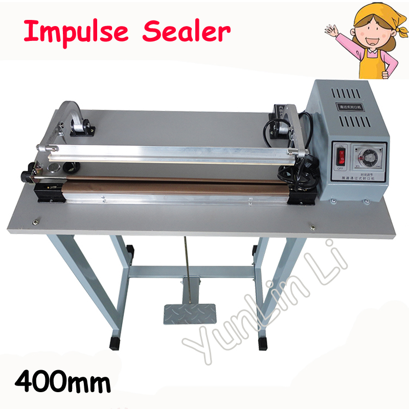 Foot Pedal Impulse Plastic Bag Sealer Heat Sealing Machine Package Shrinking for Sood Electric Beverage Packaging Use SF-400 pfs 200 impulse quick rapid plastic pvc bag sealing machine sealer for food medical packaging packing manufacturing industry