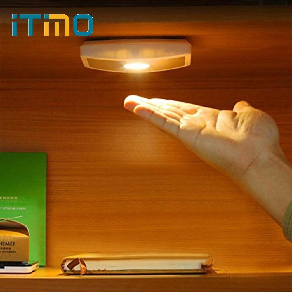 iTimo LED Night Light Wireless Wide Angle Cabinet Lamp Body Induction Motion Sensor Hallway Porch Light AAA Battery Wall Lamp
