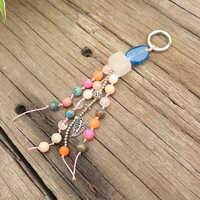 Sweet and Romantic Key Ring, Bohemia, Natural Stone, Vintage Chinese Style Tassel Keychain, Bag Keychain, Original Stone Jewelry