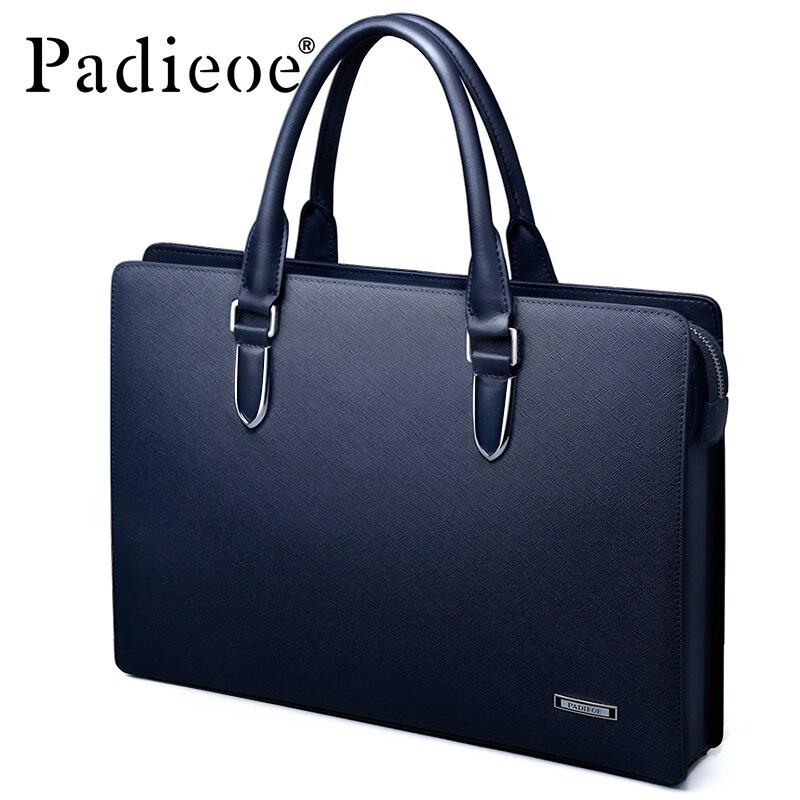 Padieoe Для Мужчин's Портфели из натуральной кожи сумки Сумка для Docu Для мужчин ts кожа Для мужчин мужская сумка мужской кожи коровы Бизнес сумка