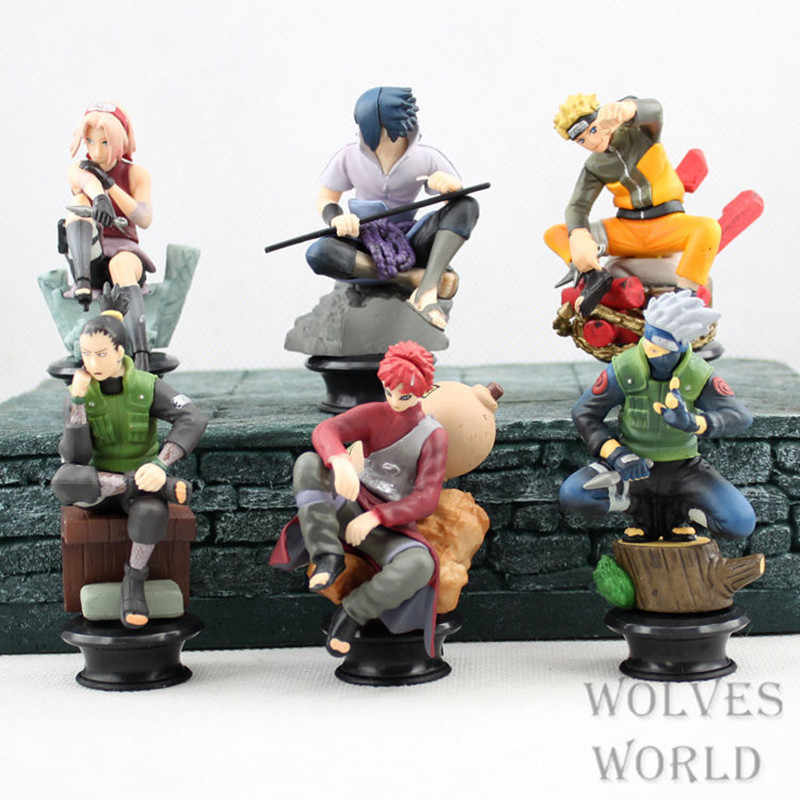 6pcs/set Naruto Action Figures Dolls Chess New PVC Anime Naruto Sasuke Gaara Model Figurines for Decoration Collection Gift Toy